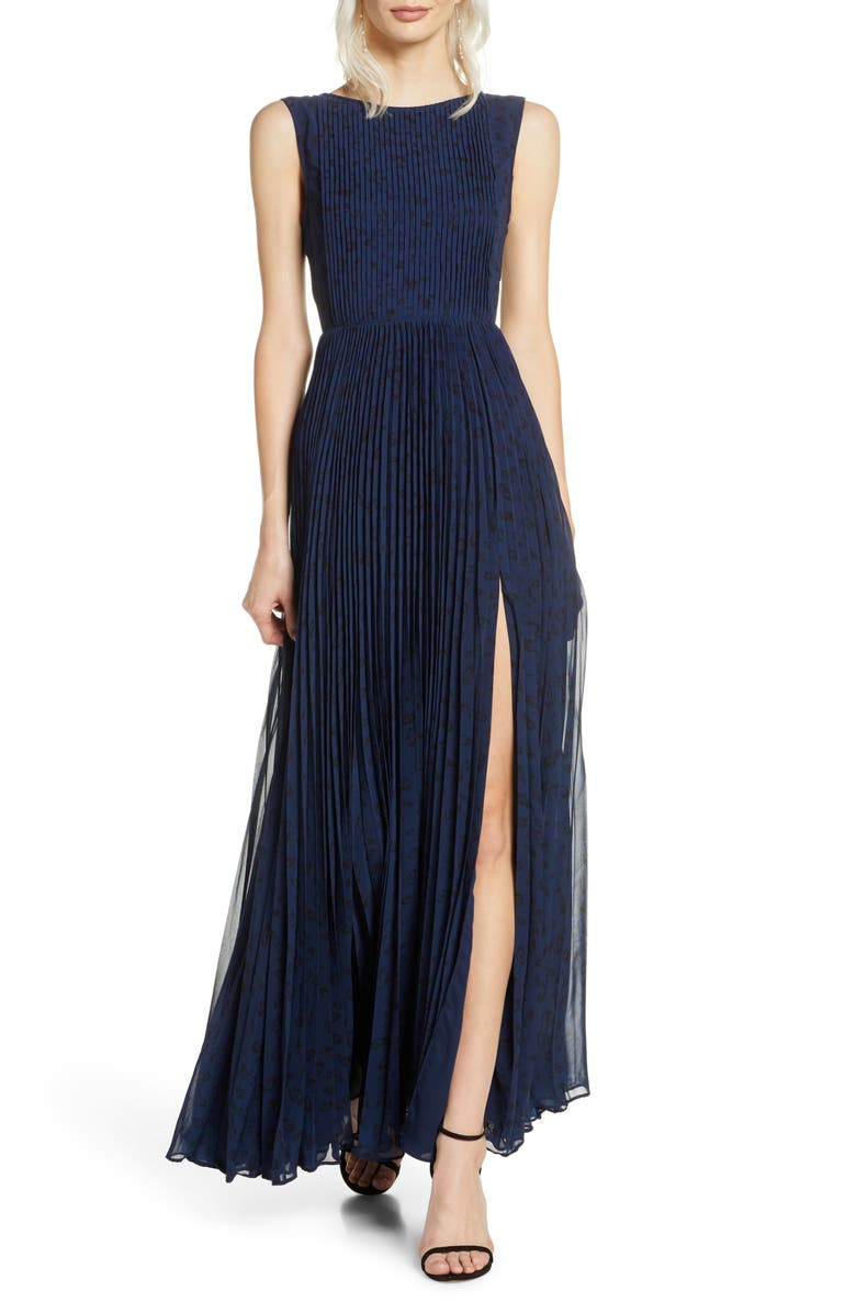 FAME AND PARTNERS The Luna Pleat Gown, Main, color, FEATHERED CAT NAVY