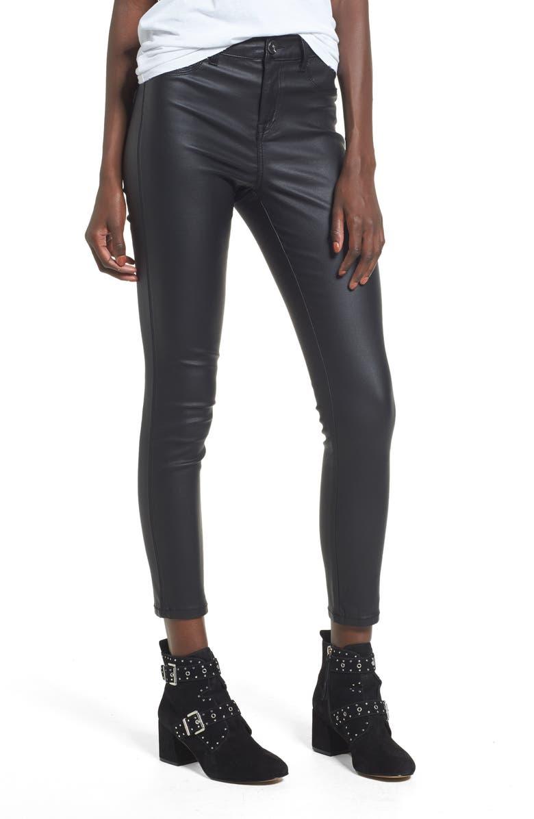 1822 DENIM High Waist Coated Skinny Jeans, Main, color, 001