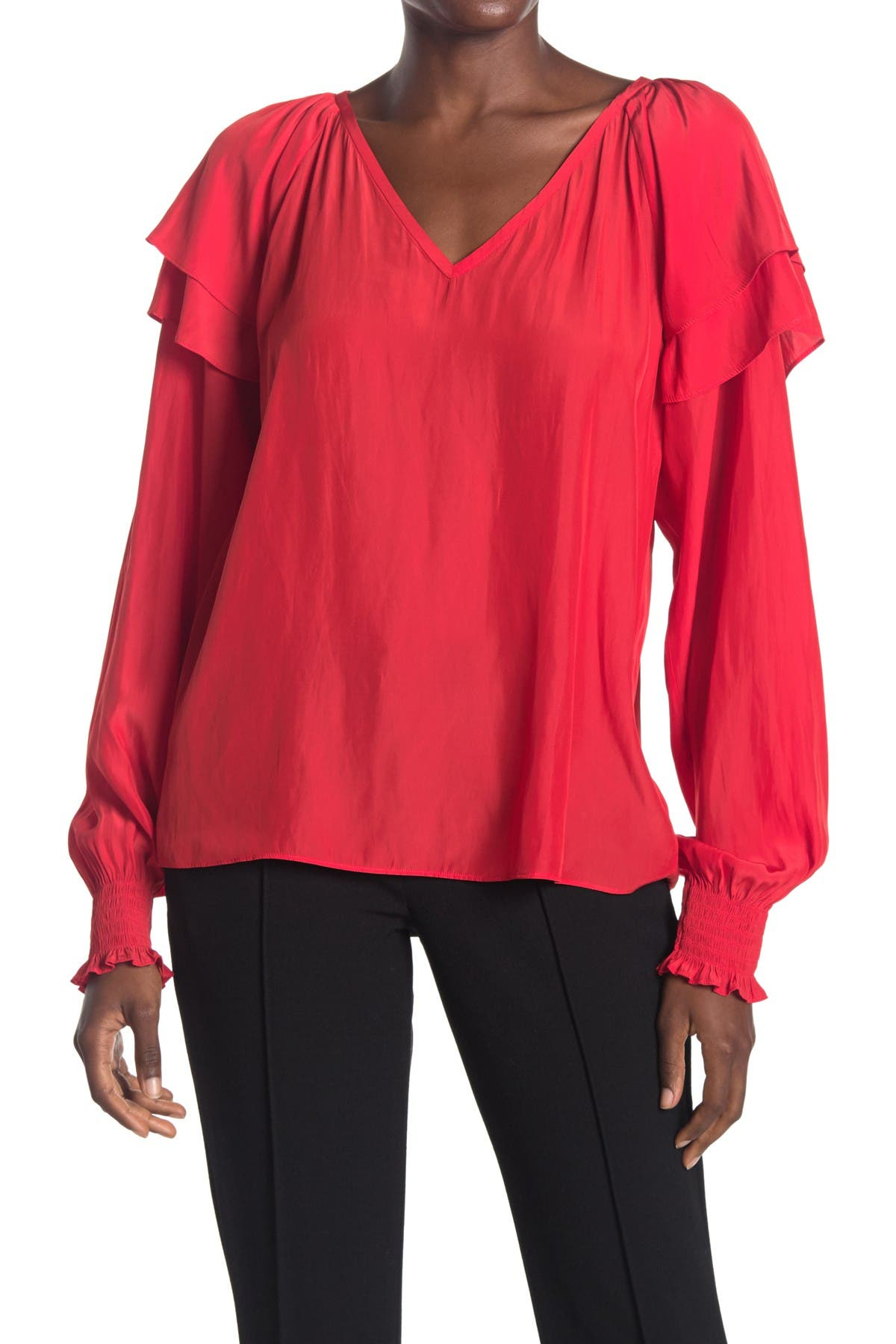 Image of Ramy Brook Colette Ruffled Long Sleeve Top