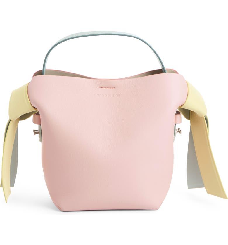 ACNE STUDIOS Mini Musubi Leather Top Handle Bag, Main, color, PALE PINK/ PALE YELLOW