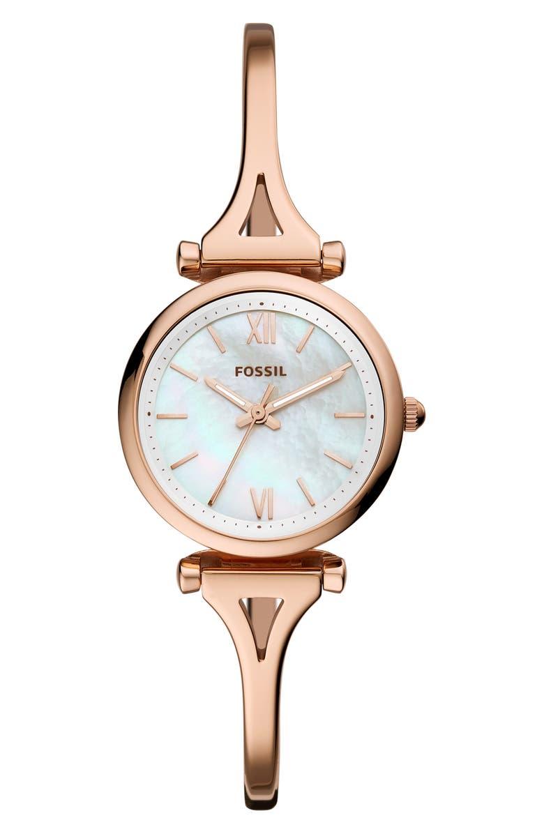 FOSSIL Mini Carlie Bracelet Watch, 28mm, Main, color, ROSE GOLD/ MOP/ ROSE GOLD