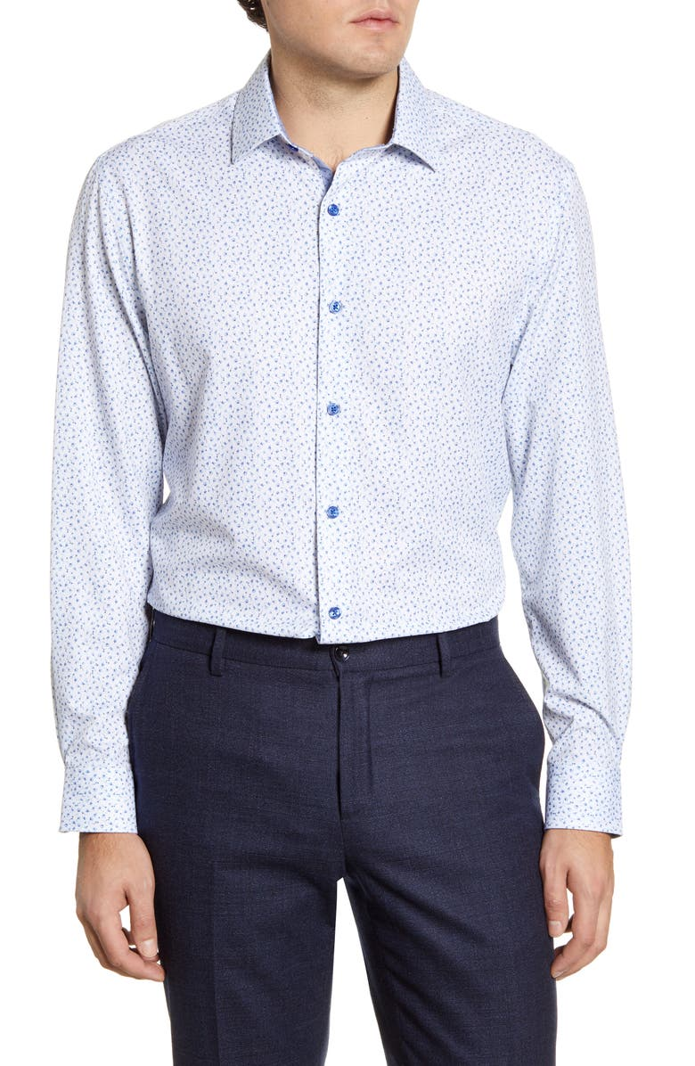 W.R.K Trim Fit Floral Performance Dress Shirt, Main, color, WHITE