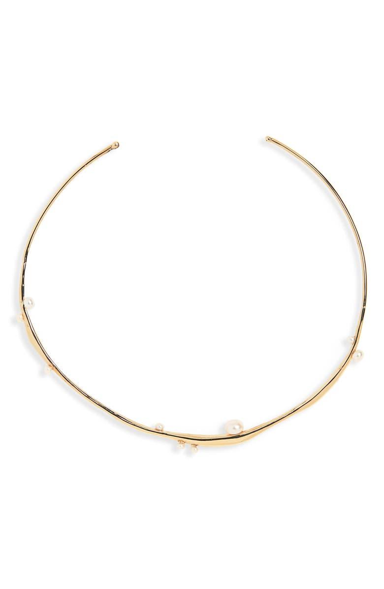 FARIS Ether Pearl Collar Necklace, Main, color, 710