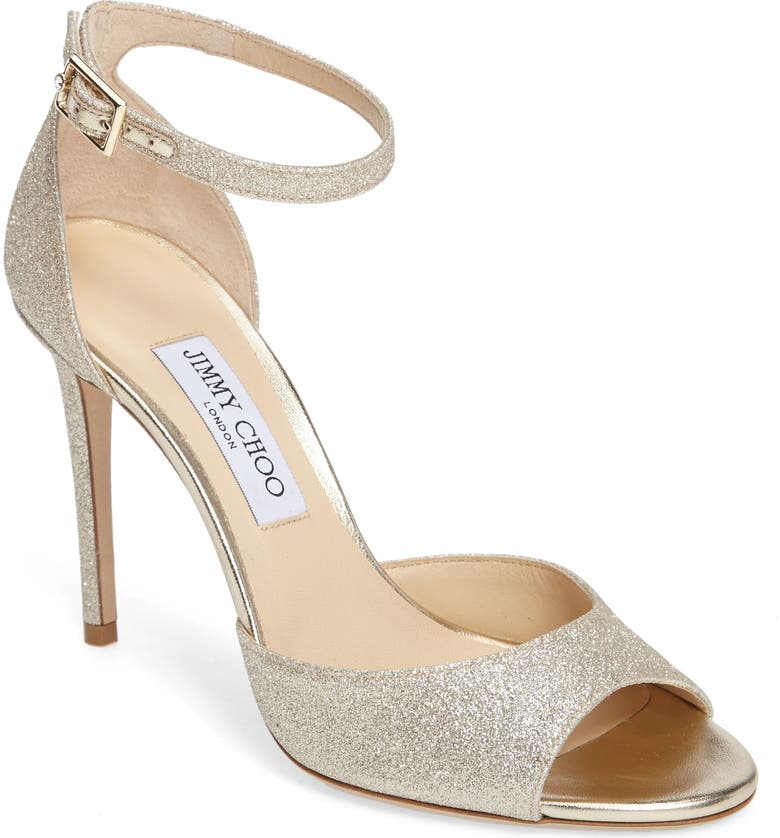 JIMMY CHOO Annie 100 Ankle Strap Sandal, Main, color, PLATINUM