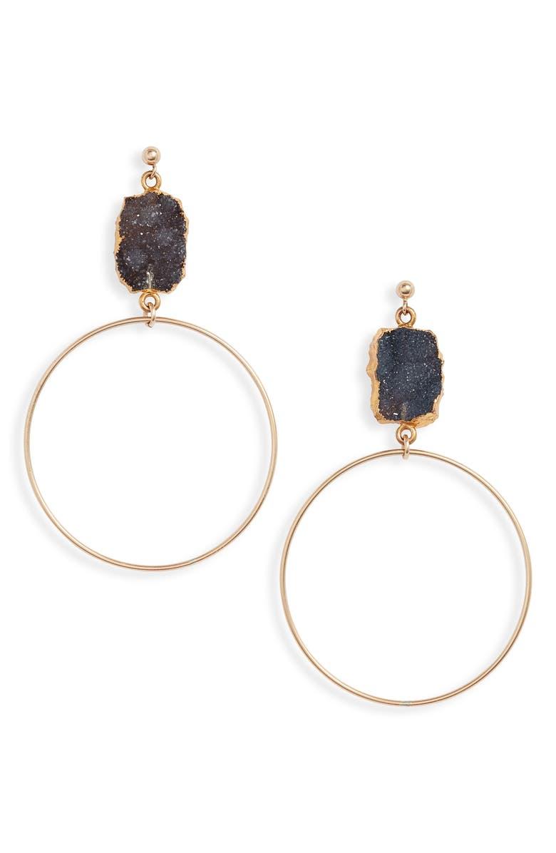 SET & STONES Colby Drop Earrings, Main, color, BLACK