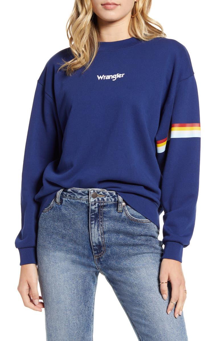 WRANGLER '80s Retro Sweatshirt, Main, color, BLUE DEPTHS