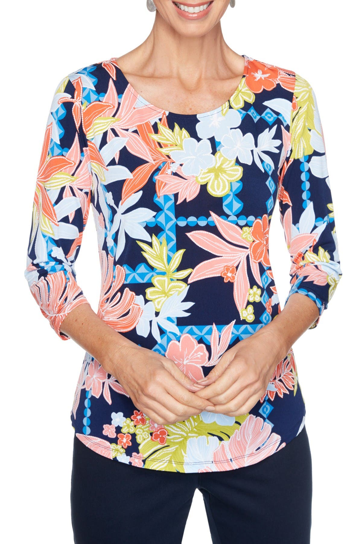 Ruby Rd. Tops BOLD FLORAL TEXTURED PUFF PRINTED TOP