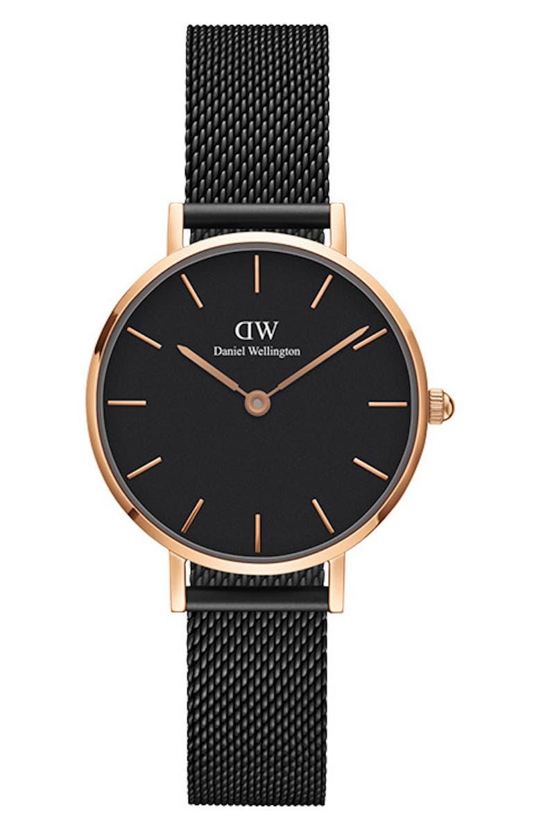 DANIEL WELLINGTON Classic Petite Mesh Strap Watch, 28mm, Main, color, BLACK / ROSE GOLD