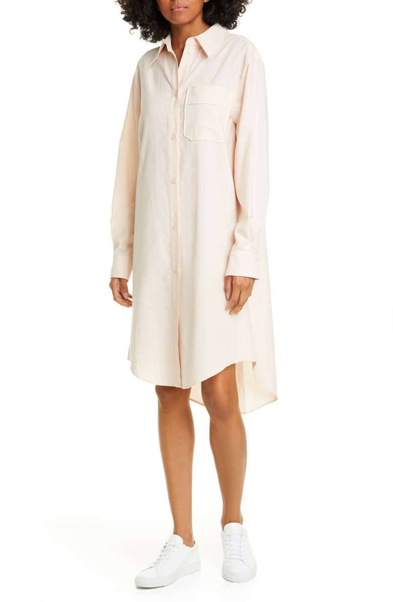 SEE BY CHLOÉ Long Sleeve Cotton Shirtdress, Main, color, PINK SAND