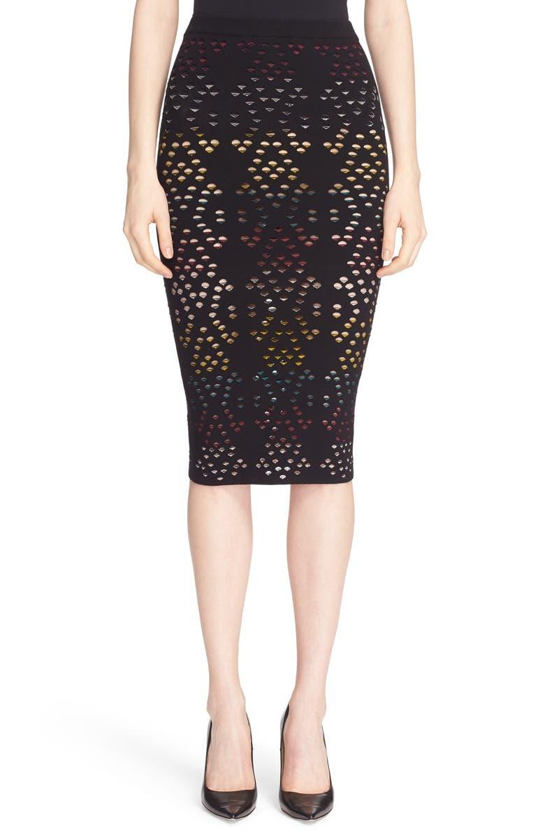 ALICE + OLIVIA 'Ani' Multicolor Pointelle Knit Pencil Skirt, Main, color, 019