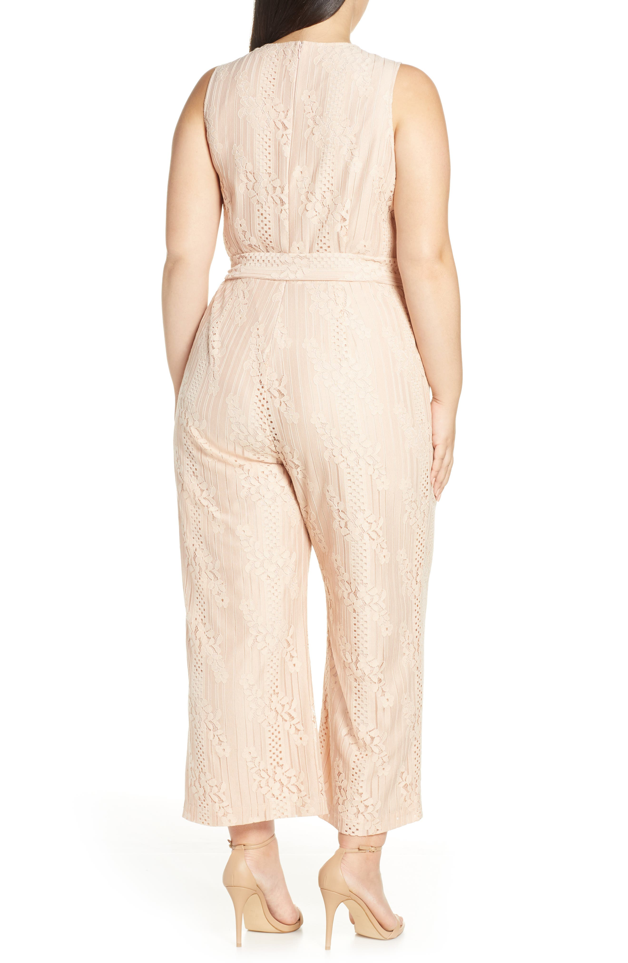 ,                             Lace Belted Jumpsuit,                             Alternate thumbnail 2, color,                             PEACH BELLINI