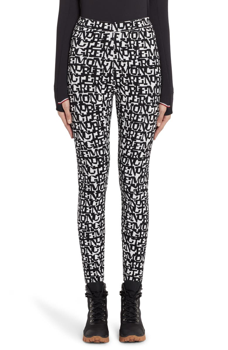 MONCLER Logo Jacquard Leggings, Main, color, BLACK