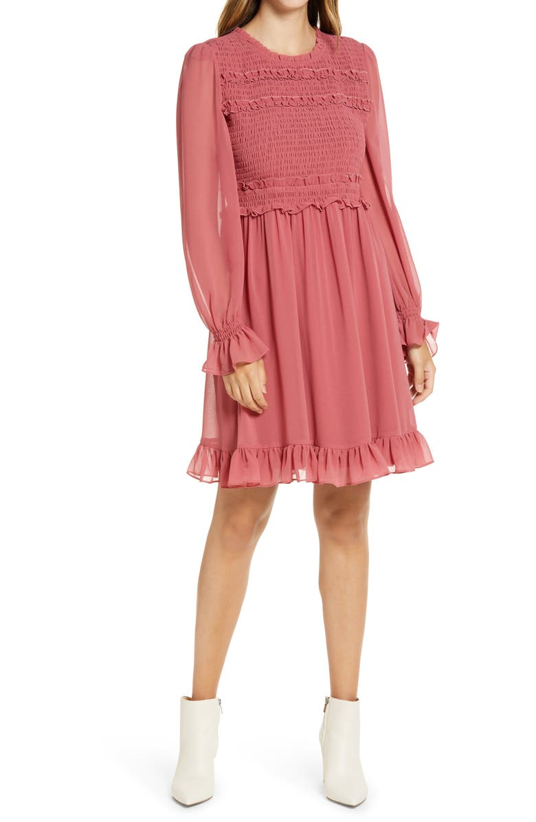 RACHEL PARCELL Smocked Ruffle Dress, Main, color, RED BAROQUE