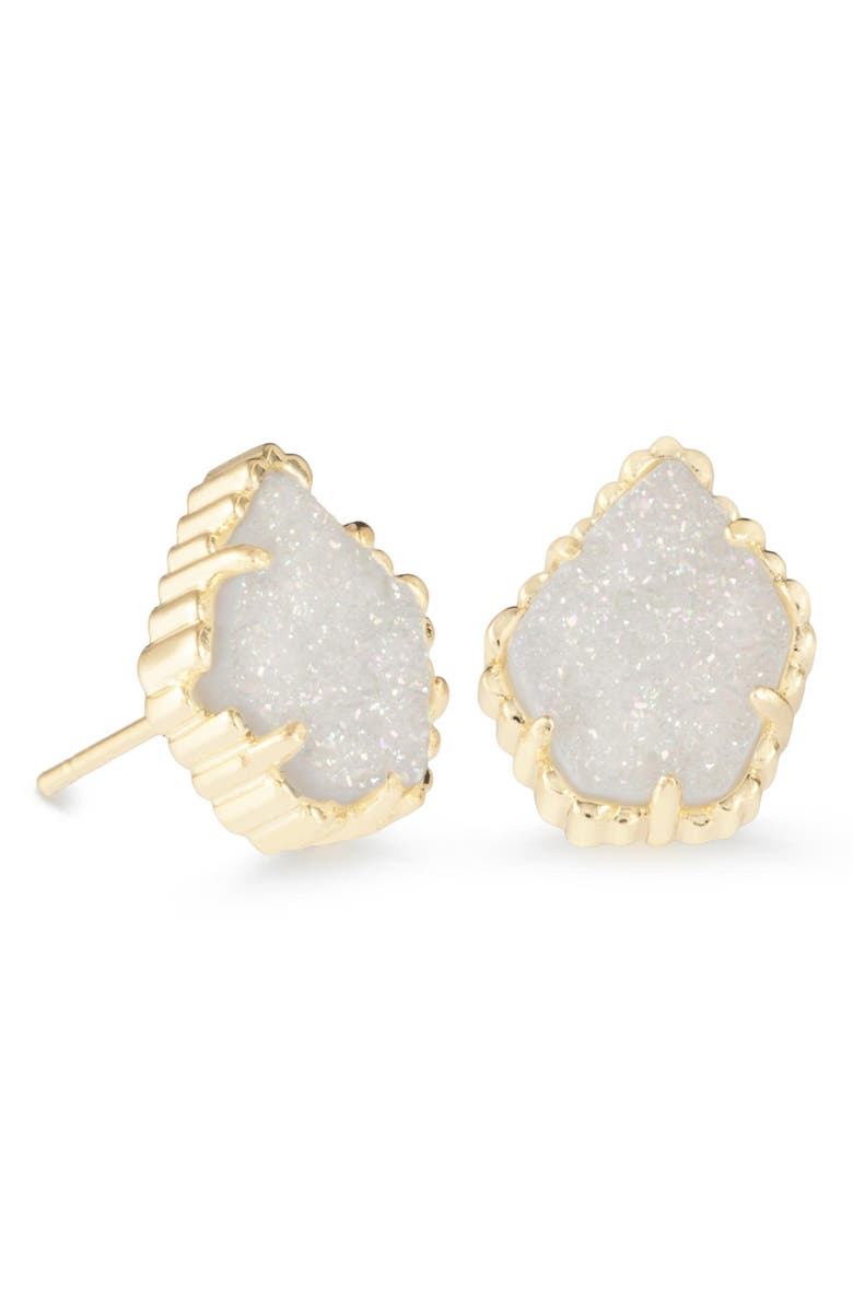 KENDRA SCOTT Tessa Stone Stud Earrings, Main, color, IRIDESCENT DRUSY/ GOLD