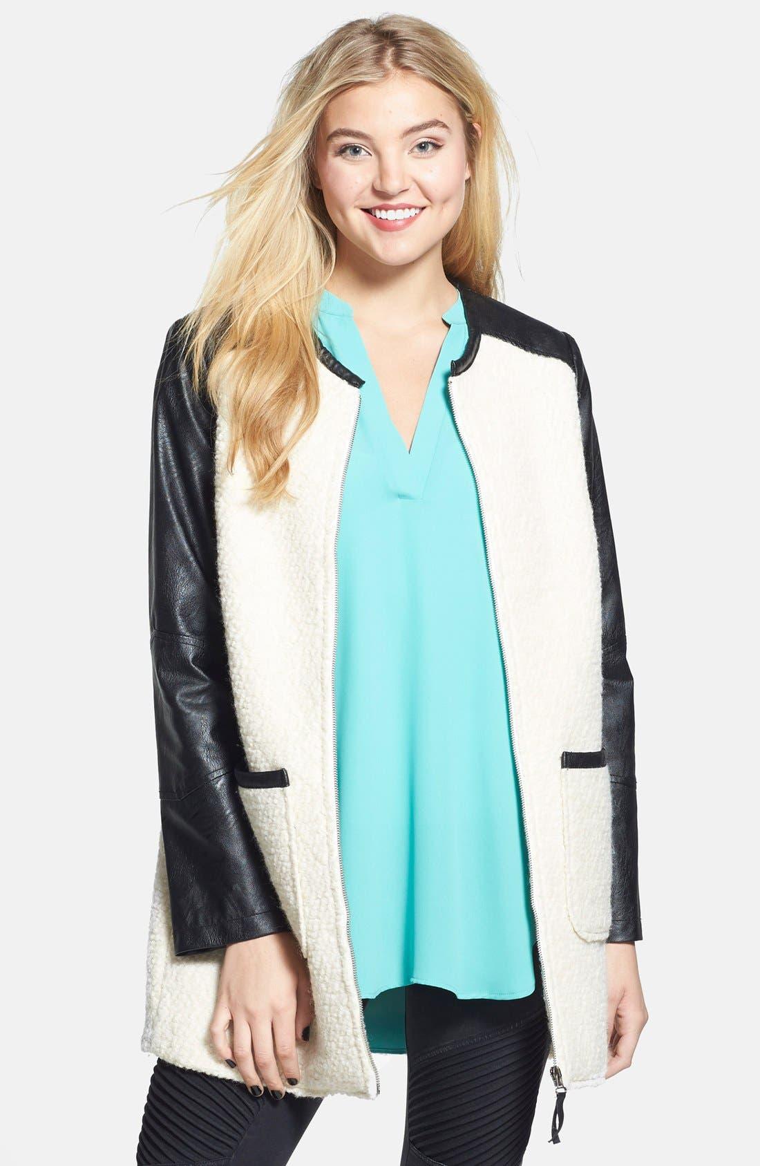 ,                             Colorblock Faux Leather Bouclé Knit Coat,                             Alternate thumbnail 5, color,                             900