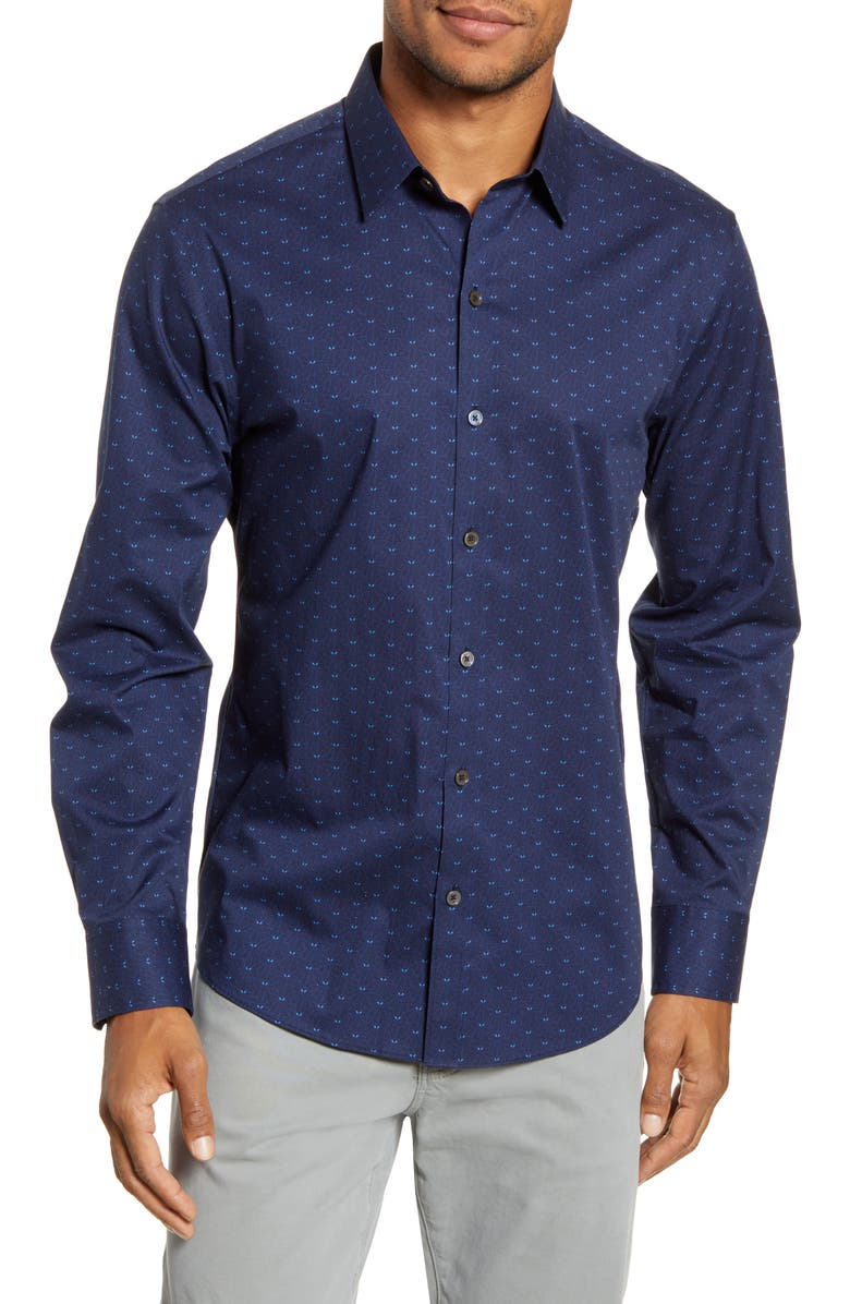 ZACHARY PRELL Guerro Regular Fit Leaf Print Button-Up Sport Shirt, Main, color, NAVY