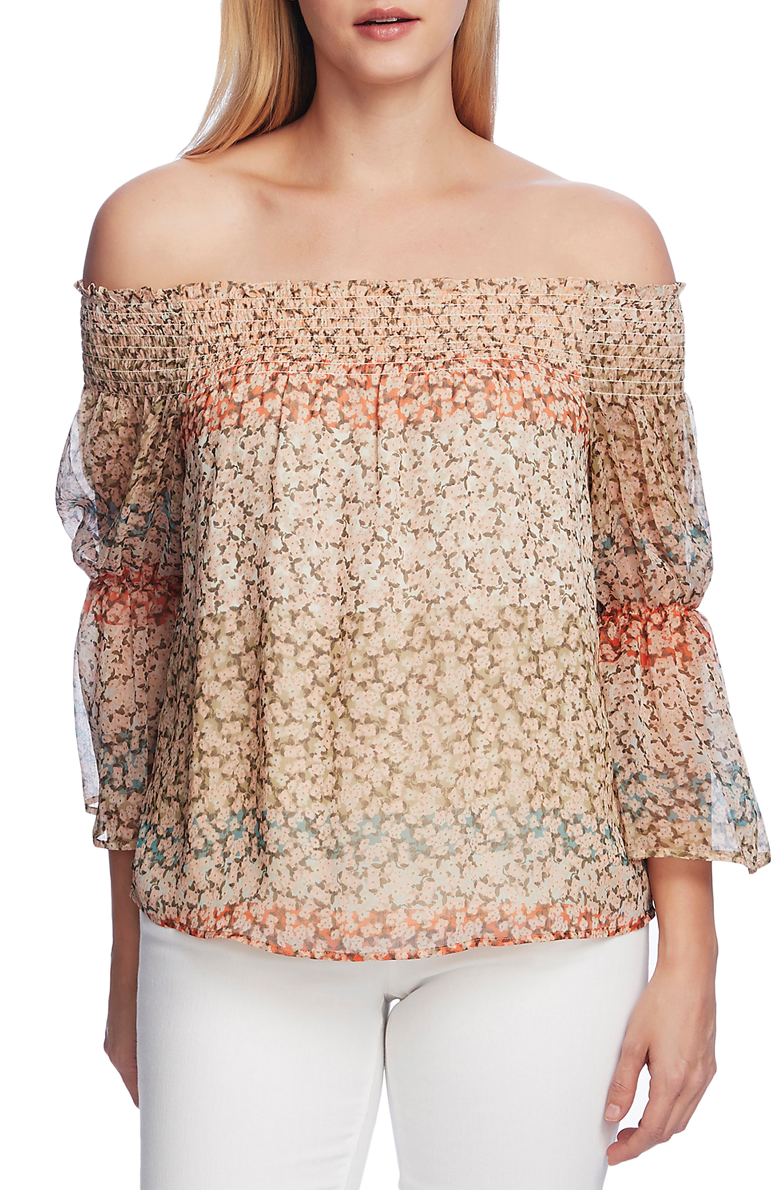 Image of Vince Camuto Smocked Off-the-Shoulder Ditsy Top