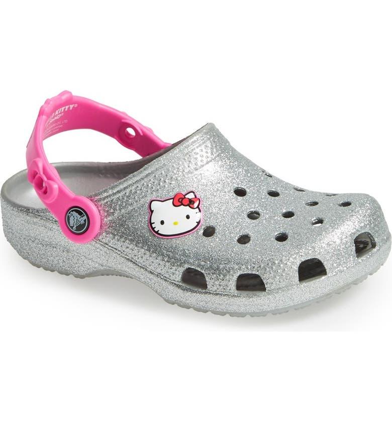 94c97f941 CROCS™ 'Hello Kitty® - Glitter' Sandal (Walker, Toddler & Little Kid ...