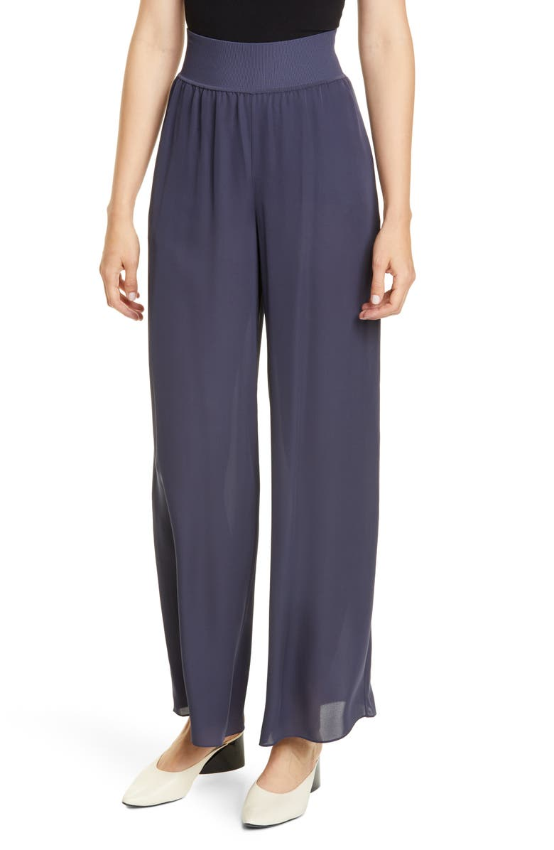 THEORY Rib Waist Wide Leg Silk Pants, Main, color, BLUE GREY