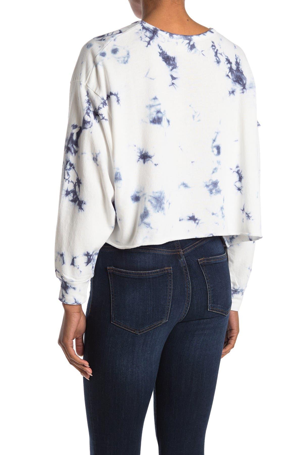 Image of Mustard Seed Tie Dye Print Sleeve Cutout Sweatshirt
