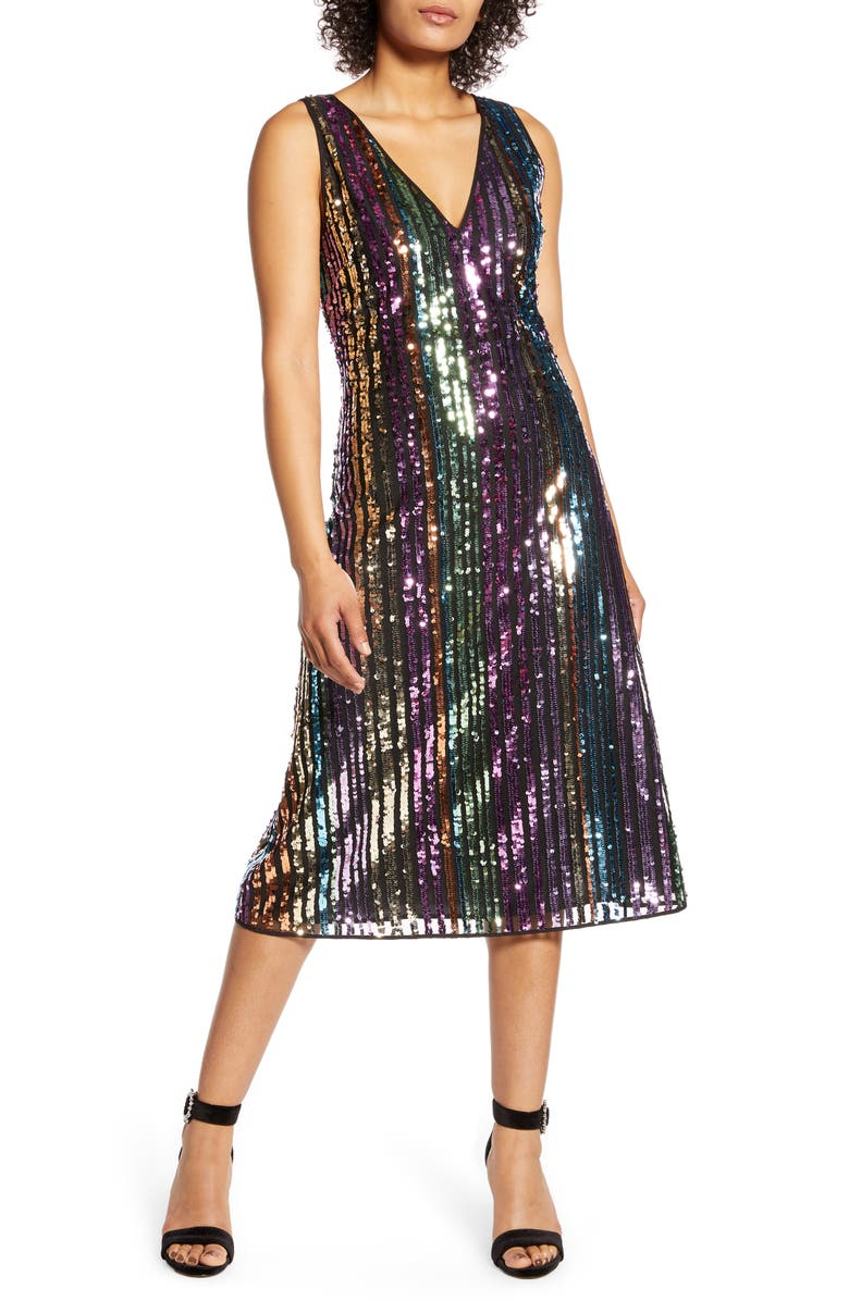 HALOGEN<SUP>®</SUP> x Atlantic-Pacific Sequin Stripe Shift Dress, Main, color, GOLD- PINK BROADWAY STRIPE