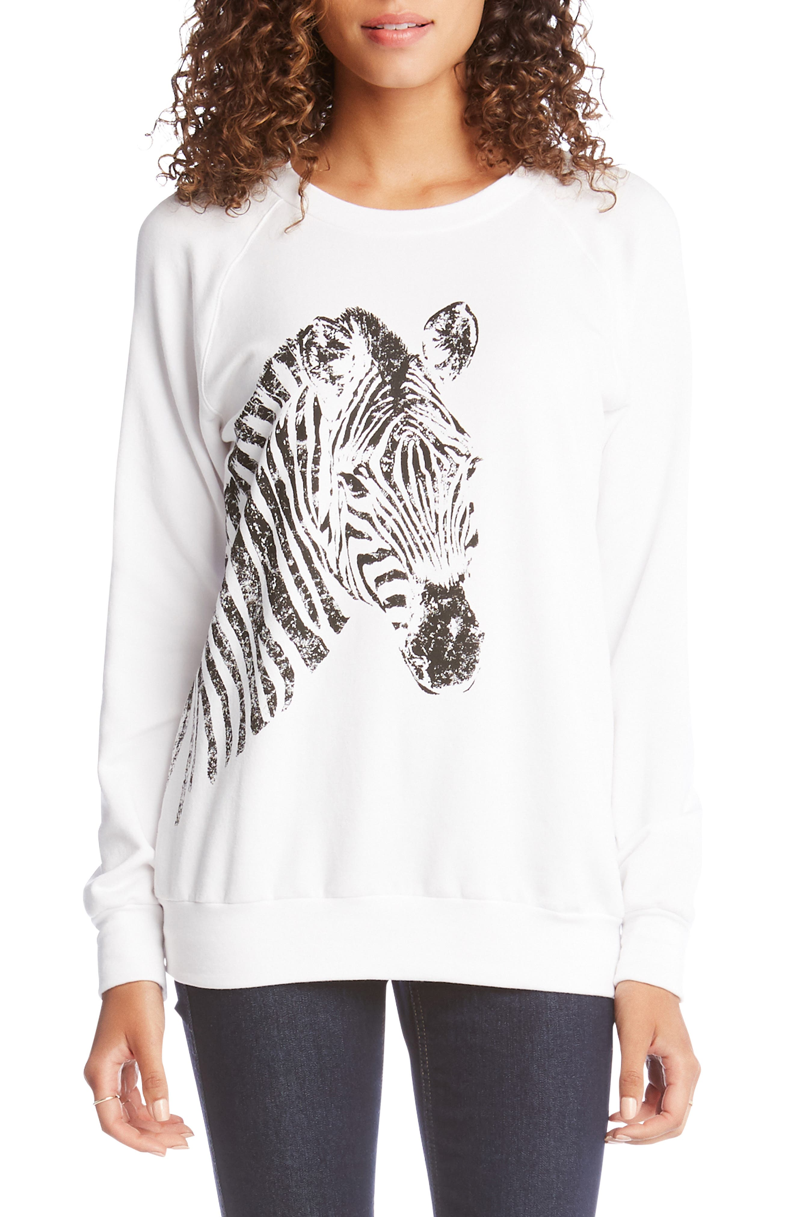 ,                             Zebra Print Sweatshirt,                             Main thumbnail 1, color,                             100