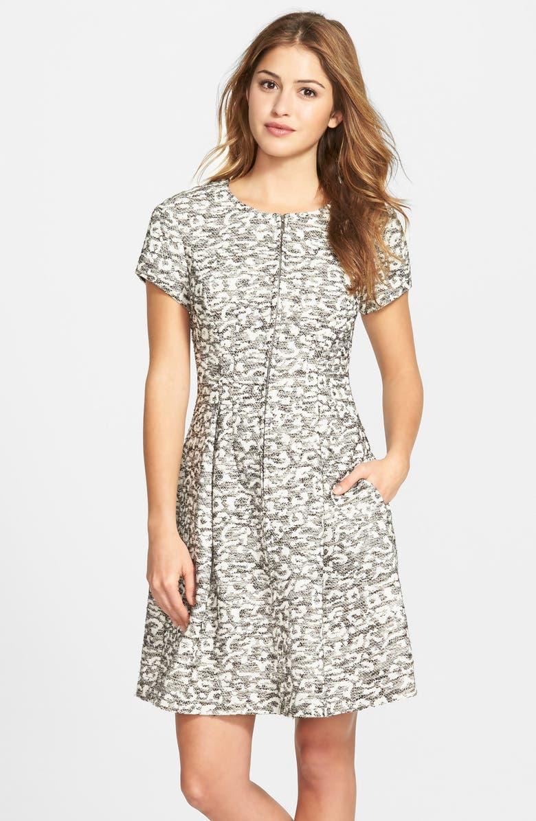 ELIZA J Zip Front Leopard Knit Jacquard Fit & Flare Dress, Main, color, 021