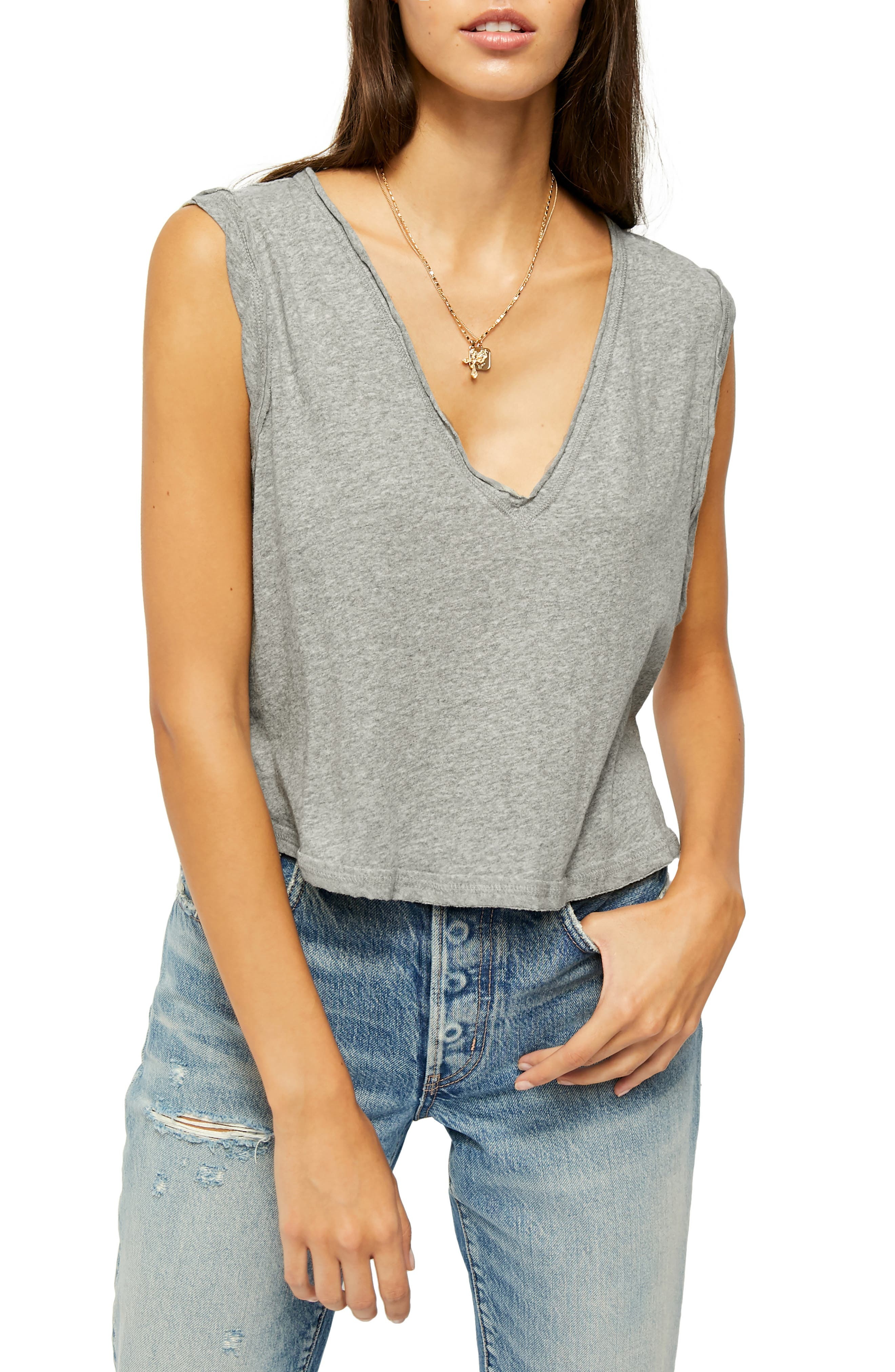 Image of Free People Dreamy Raw Edge V-Neck Tank Top