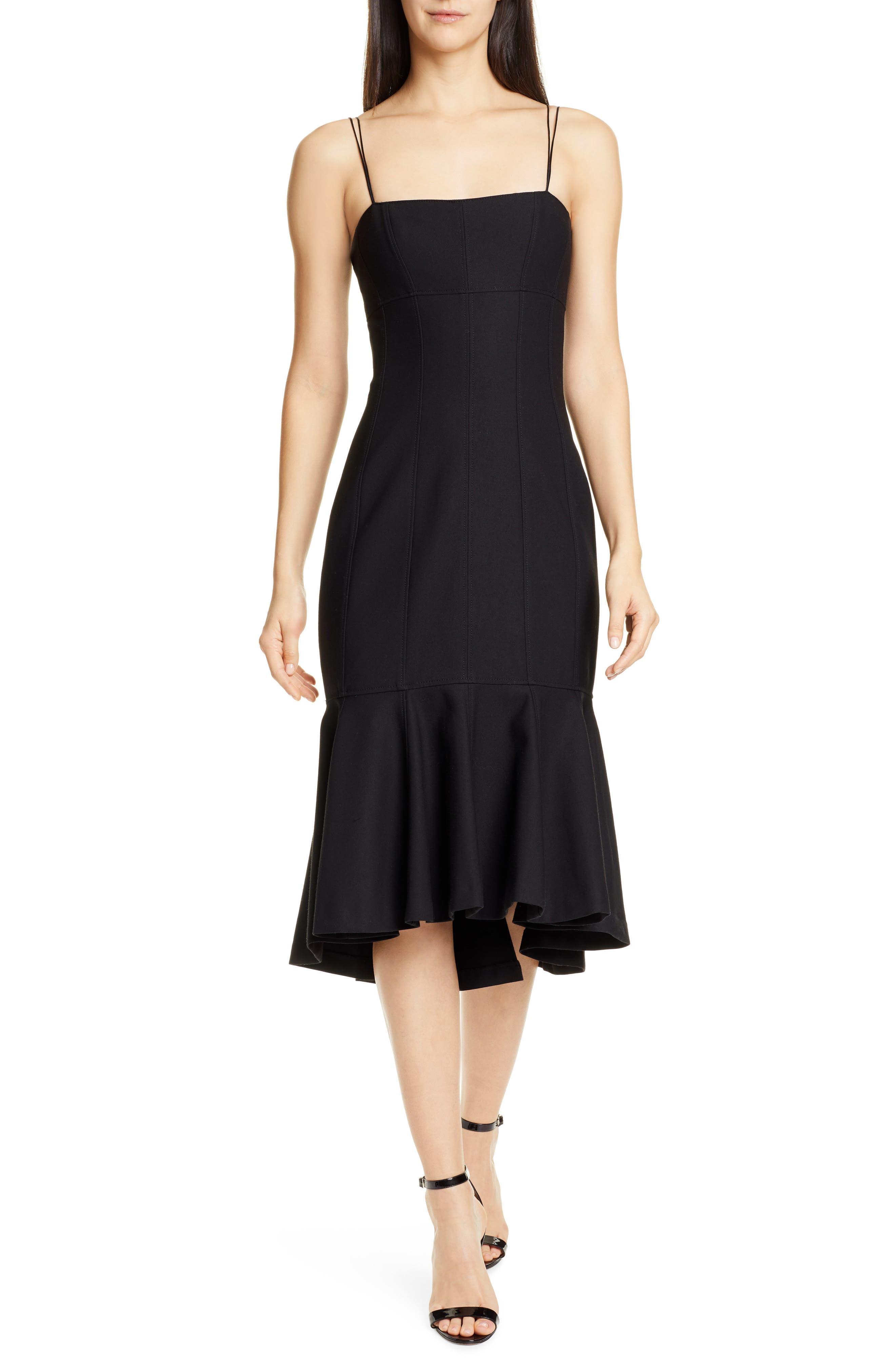 Cinq A Sept Salina Ruffle Hem Midi Dress, Black