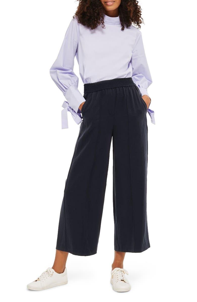 TOPSHOP Wide Leg Trousers, Main, color, 410