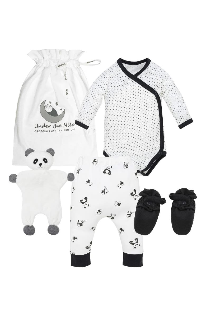 UNDER THE NILE Polka Dot Panda 4-Piece Organic Cotton Gift Set, Main, color, BLACK AND WHITE