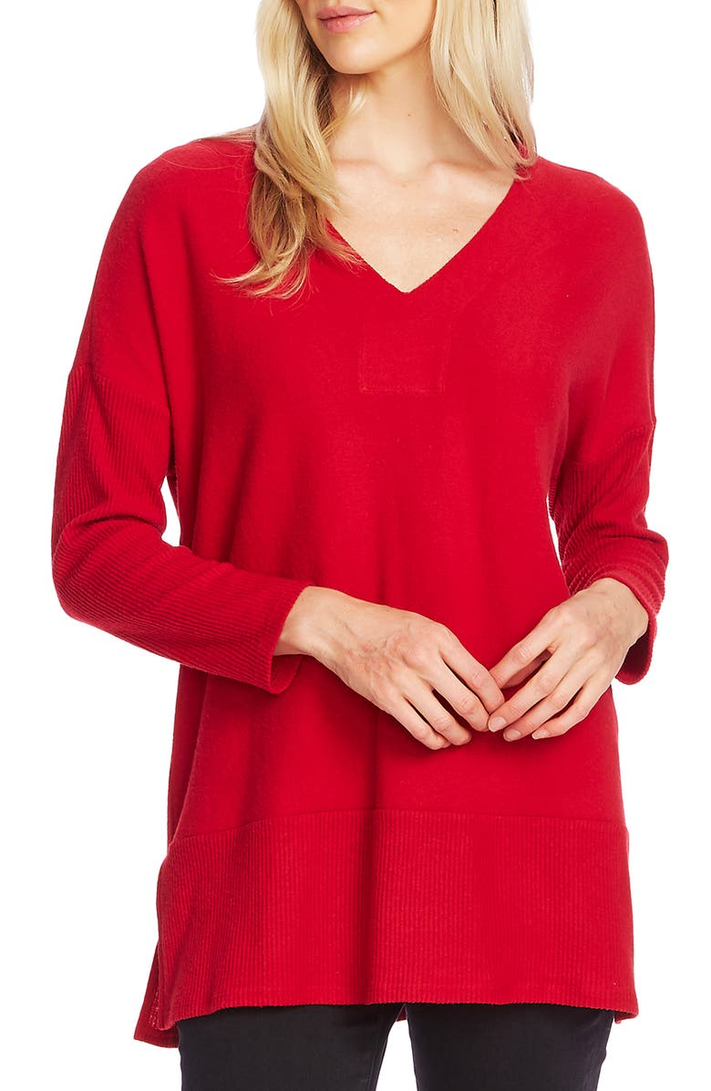 VINCE CAMUTO Ribbed Detail Tunic Sweater, Main, color, TULIP RED
