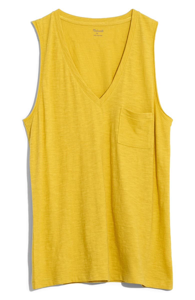 MADEWELL Whisper Cotton V-Neck Tank, Main, color, GOLDEN MEADOW