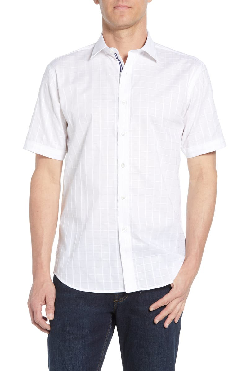 Bugatchi Shaped Fit Check Performance Shirt
