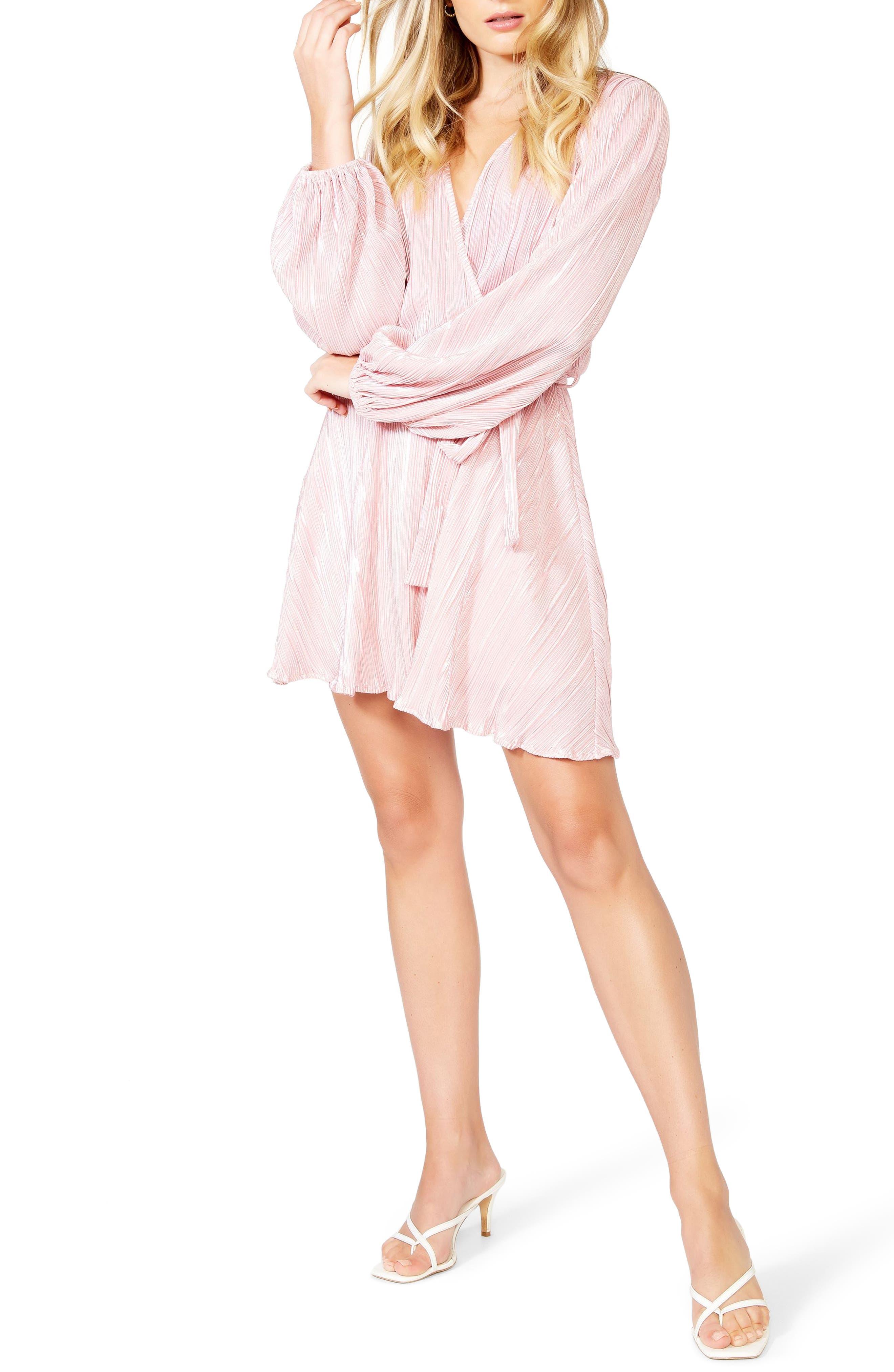 Bardot Bellissa Pleated Long Sleeve Faux Wrap Dress   Nordstrom