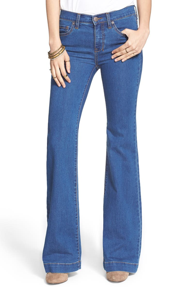 FREE PEOPLE Stretch Mid Rise Flare Jeans, Main, color, 400