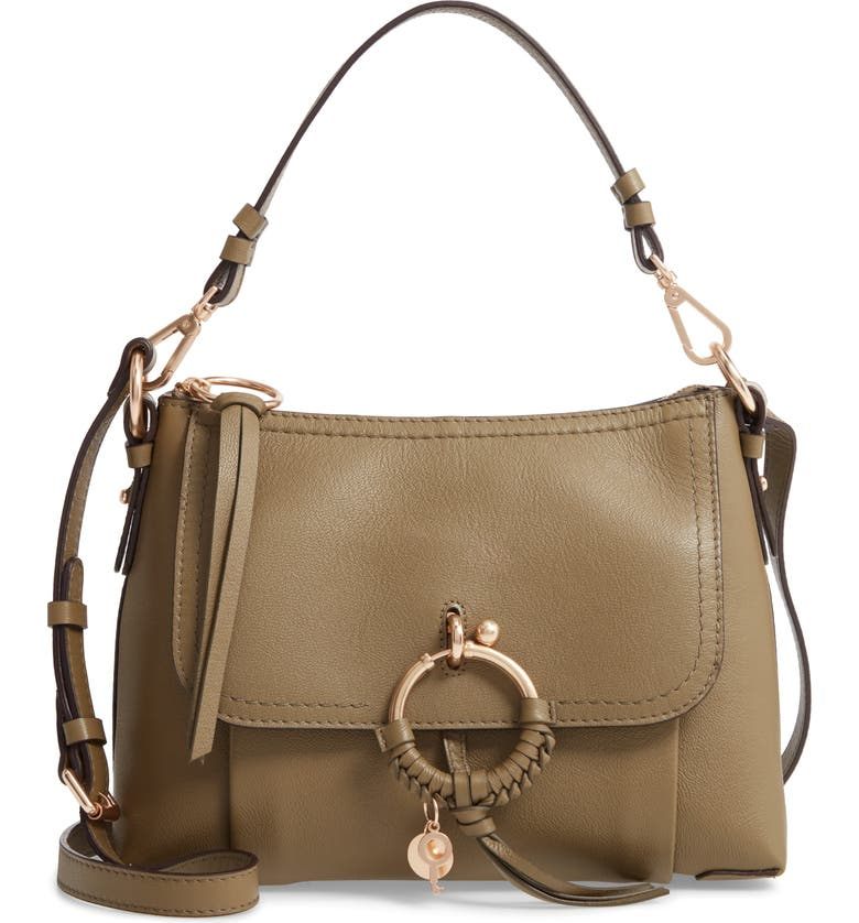 SEE BY CHLOÉ Small Joan Leather Shoulder Bag, Main, color, SAFARI KHAKI