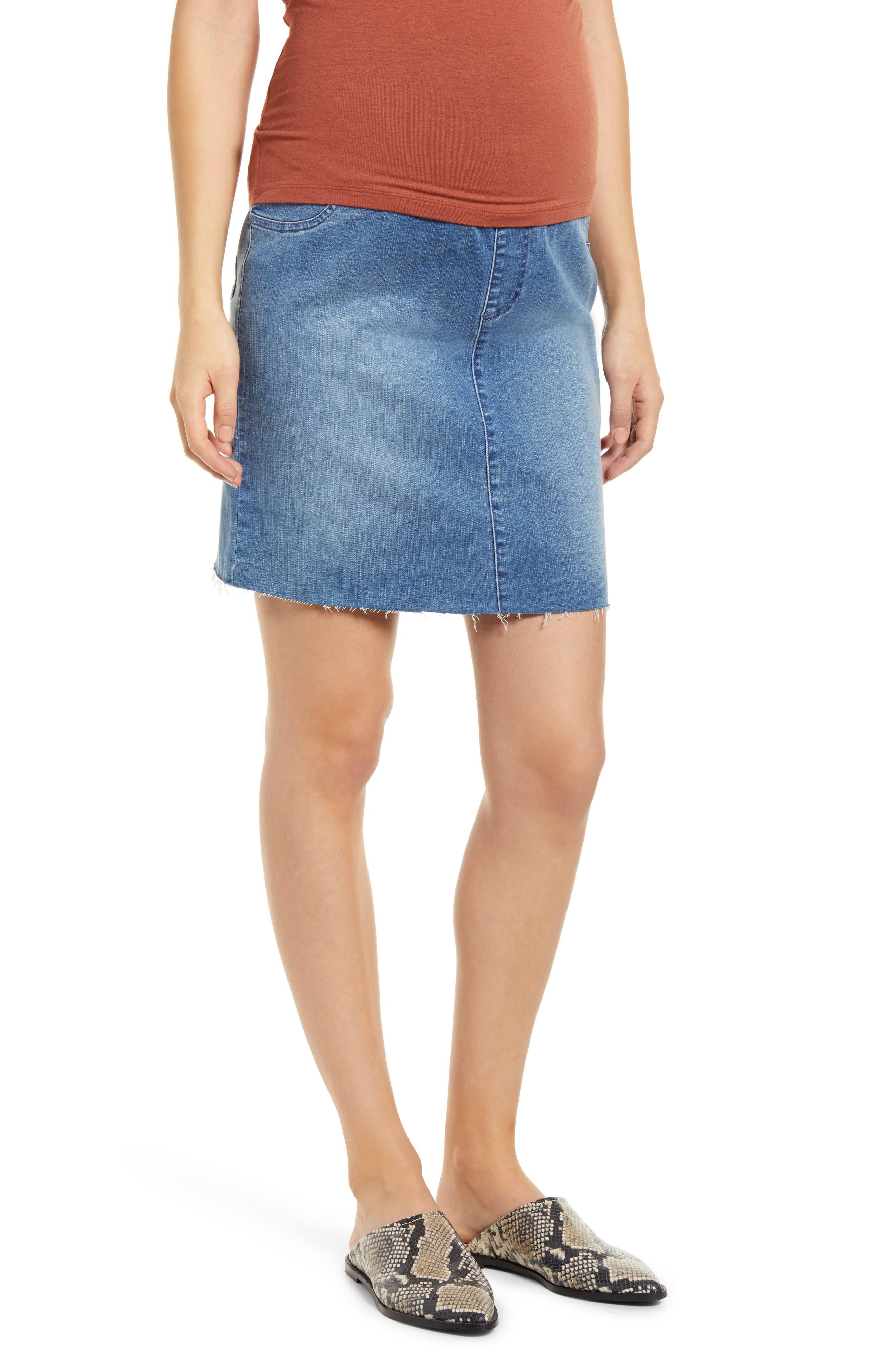 Over The Bump Denim Maternity Skirt