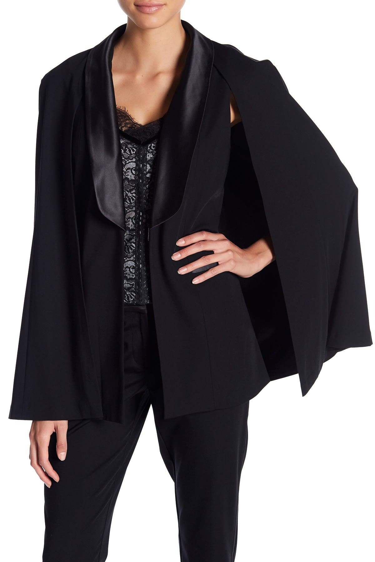 Image of Laundry By Shelli Segal Removable Cape Satin Trim Vest