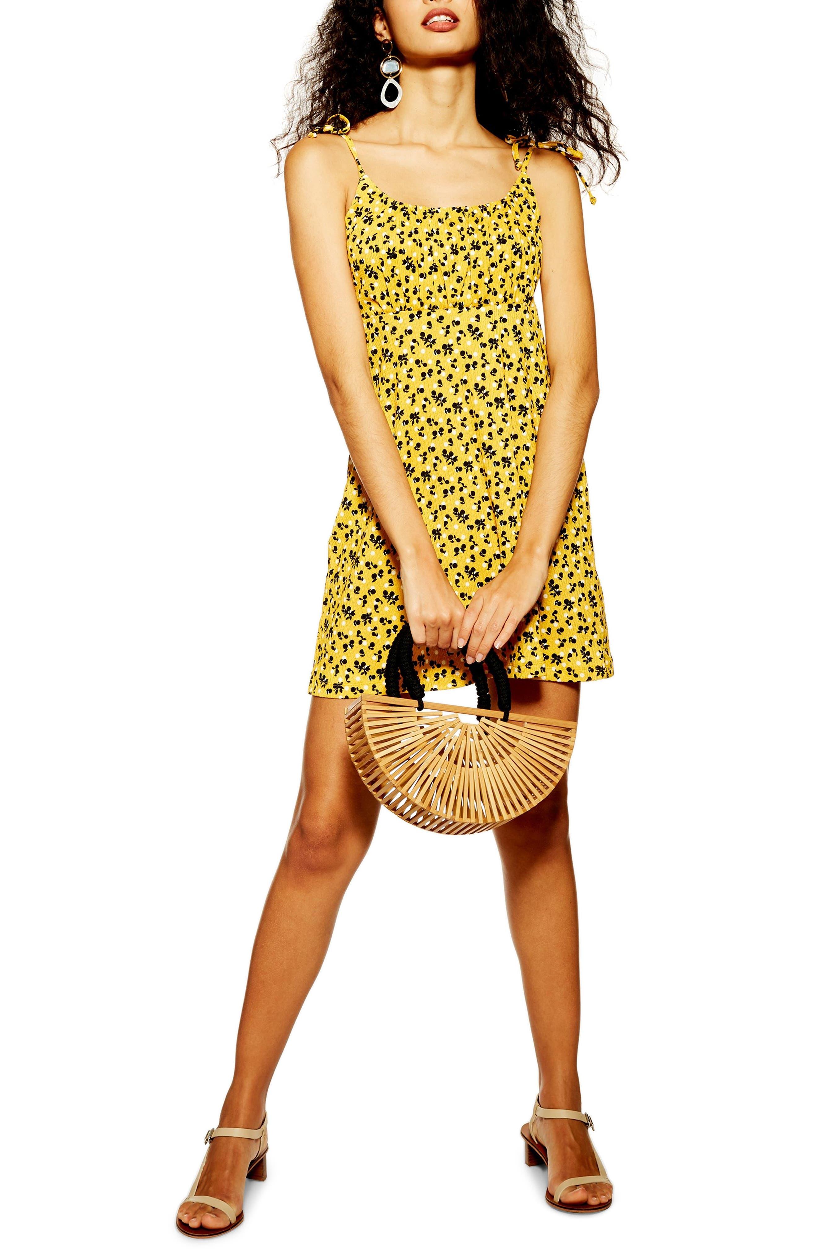 Topshop Sleeveless Fruit Crinkle Minidress, US (fits like 2-4) - Yellow
