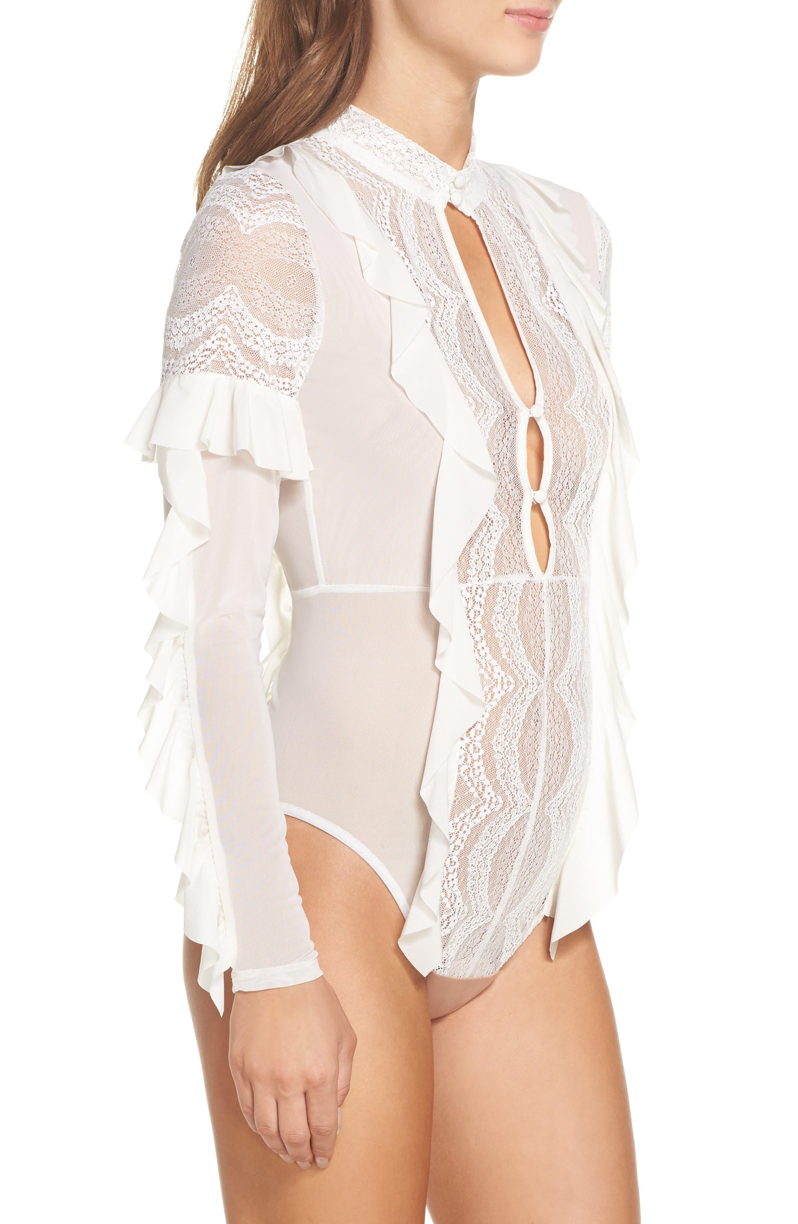 ,                             Eva Lace Ruffle Bodysuit,                             Alternate thumbnail 9, color,                             900