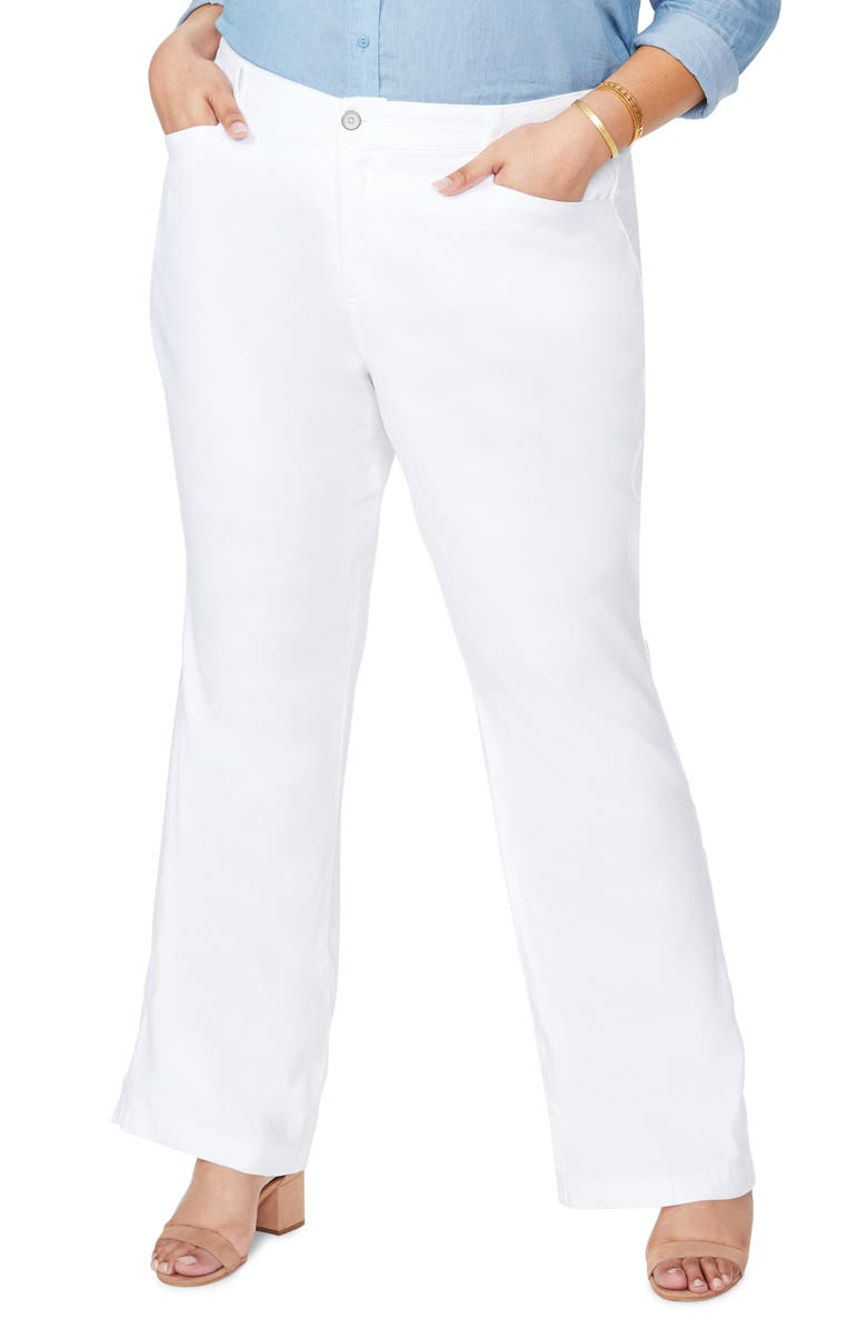 NYDJ Stretch Linen Blend Trousers, Main, color, OPTIC WHITE
