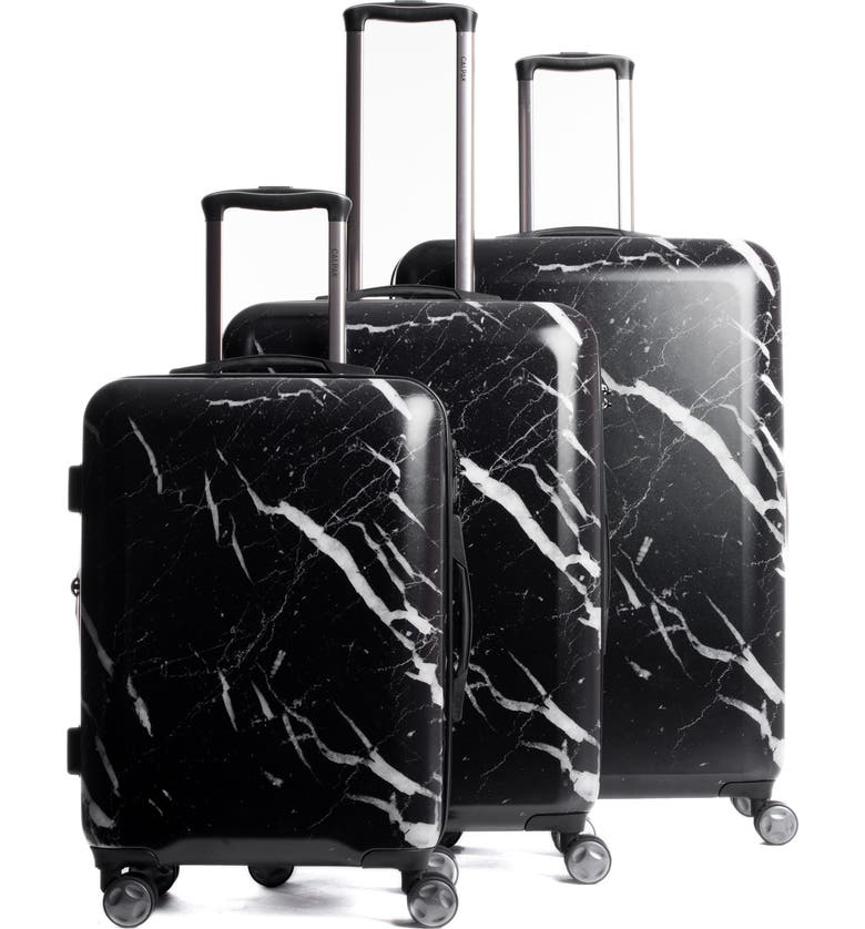 CALPAK Astyll 3-Piece Marbled Luggage Set, Main, color, BLACK