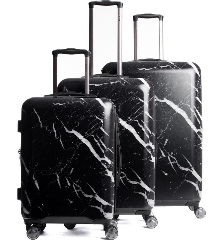 CALPAK Astyll 3-Piece Marbled Luggage Set, Main, color, BLACK