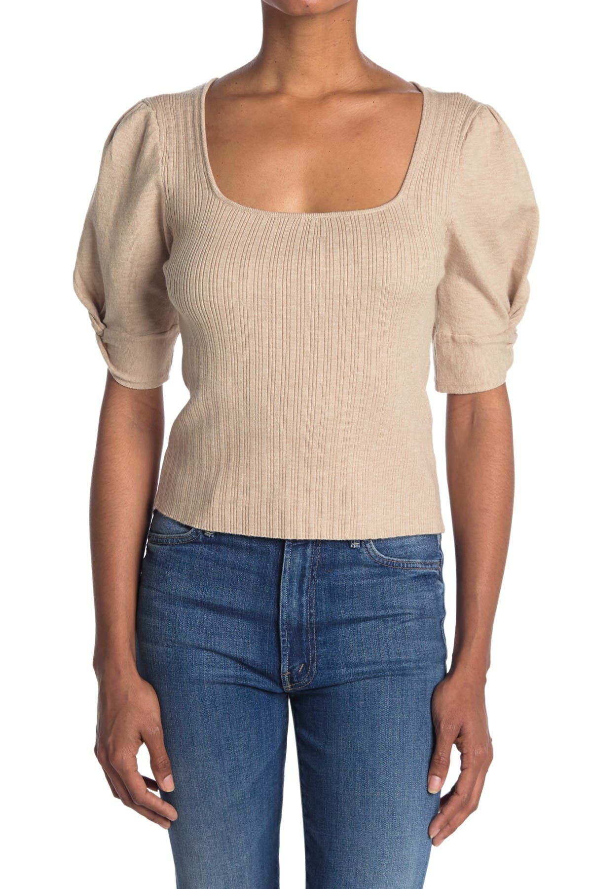 Image of Lush Square Neck Twist Short Sleeve Crop Top
