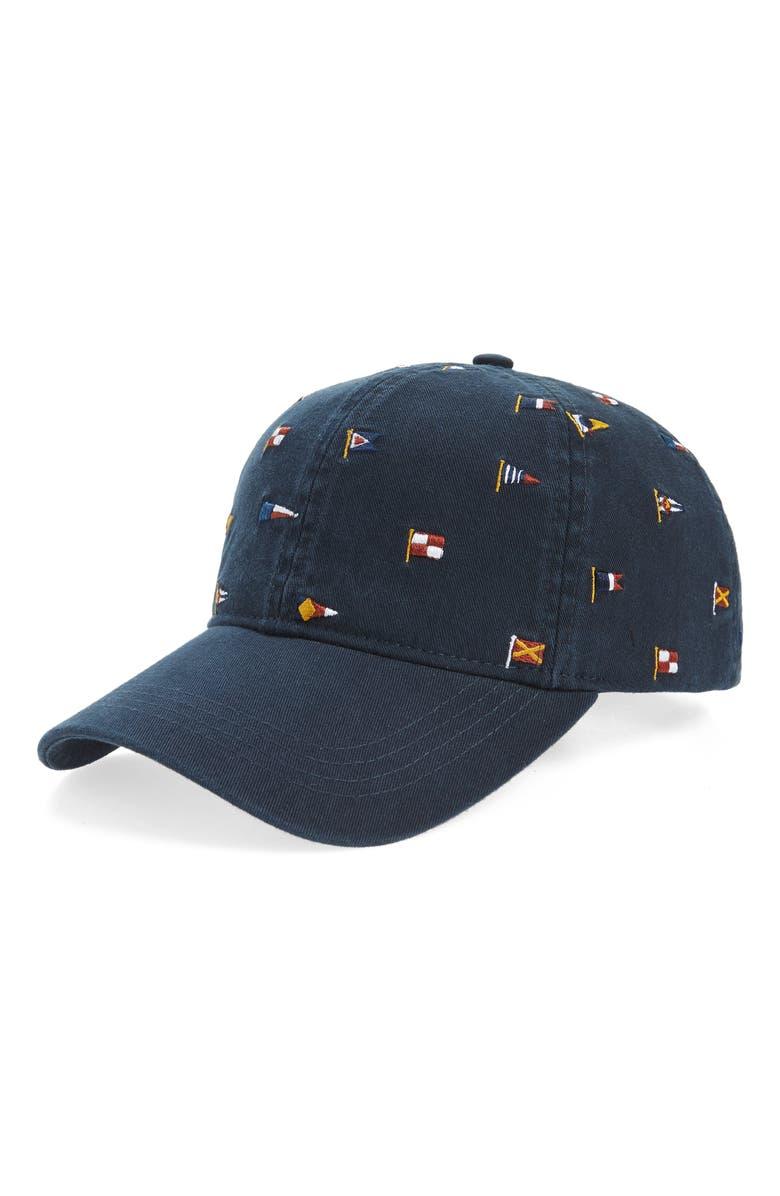BARBOUR Nautical Flag Cascade Embroidered Cap, Main, color, NAVY