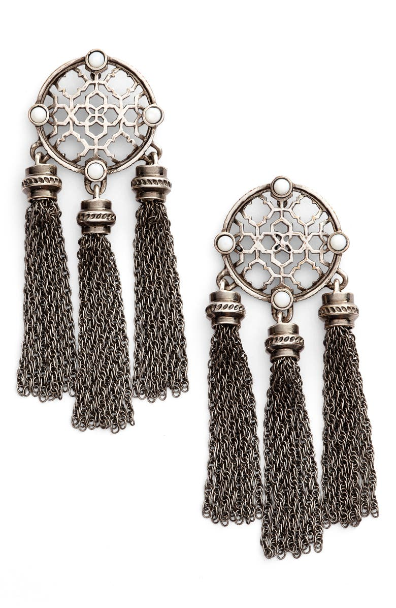 KENDRA SCOTT Adams Earrings, Main, color, ANTIQUE SILVER