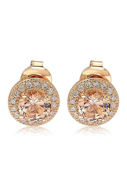 Image of Suzy Levian Rose-Tone Sterling Silver Round Cut Morganite CZ Halo Stud Earrings