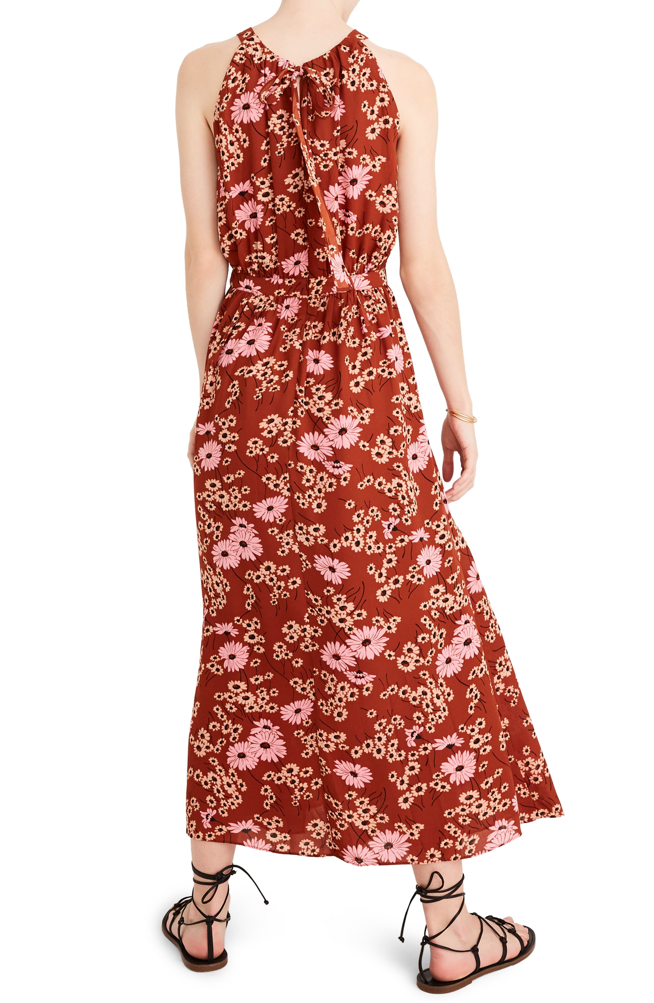 Madewell Hillside Daisies Halter Maxi Dress, Orange