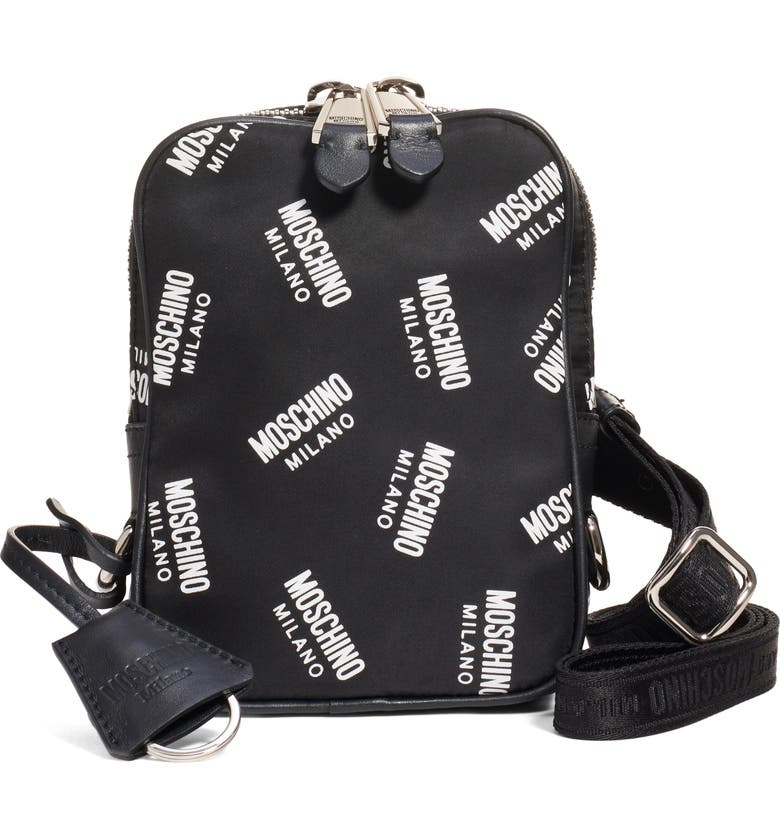 MOSCHINO Logo Nylon Crossbody Bag, Main, color, FANTASY PRINT BLACK